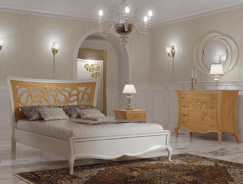 Letto con testiera traforata, Letto interamente in legno, Letto stile Art deco Camere da letto ...