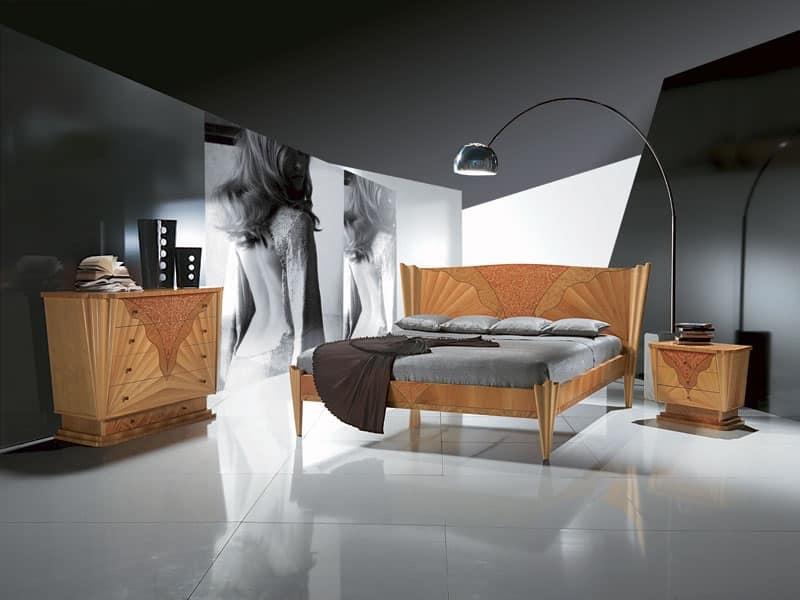 LE05 Fusion, Letto in legno con intarsio, disponibile in tinta noce