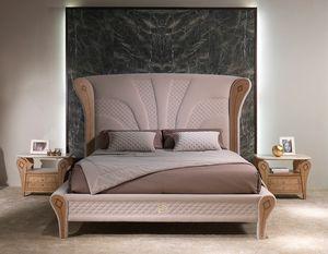 LE28 Charme Bett letto, Lussuoso letto, con decori in legno intarsiato