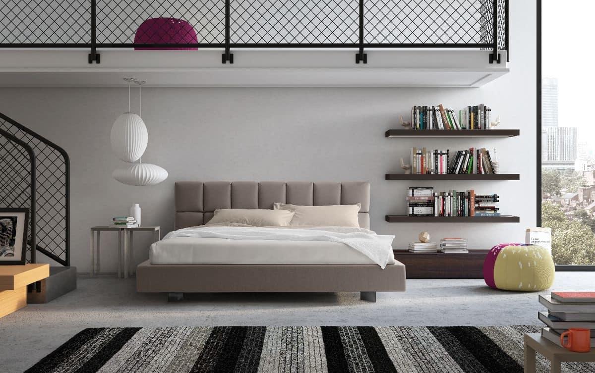 Letto con testiera imbottita e funzionale per camera - Testiera letto moderna ...