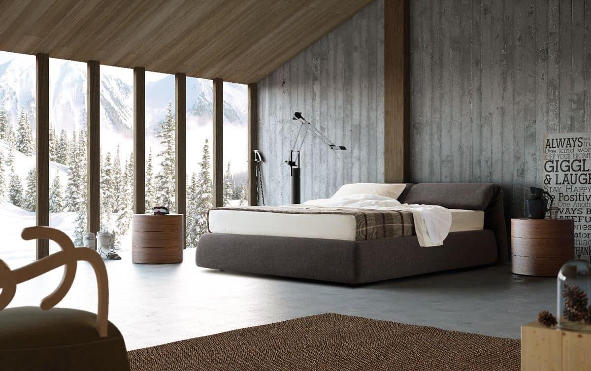 Letto imbottito testiera pieghevole per camera da letto idfdesign - Testiera letto design ...