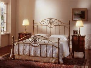 MATILDE 1261 , Letto classico, in ottone bronzo, per Camera d'albergo