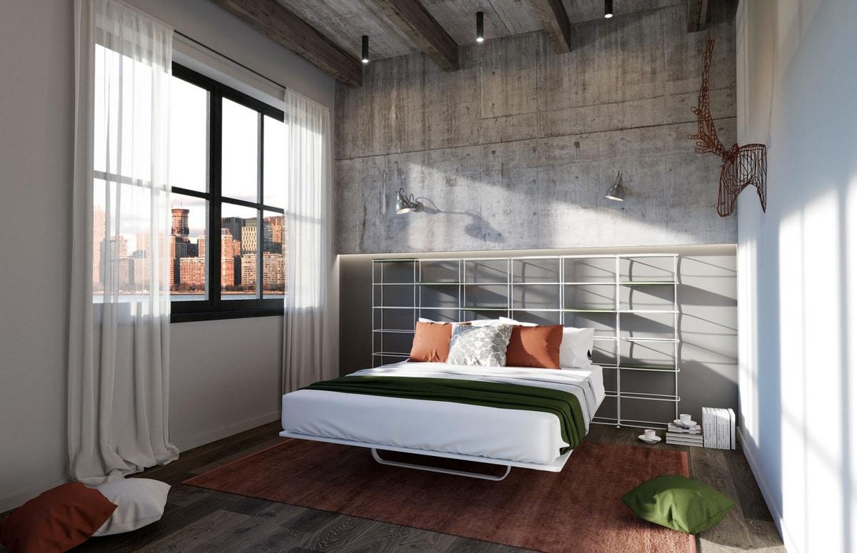 Libreria Letto Matrimoniale : Letto con testiera libreria ideale per appartamenti moderni idfdesign
