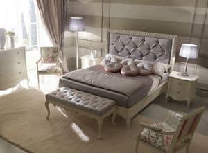 Rudy 6040 letto, Letto classico di lusso, con testiera capitonn�, cornice decorata con finitura argento