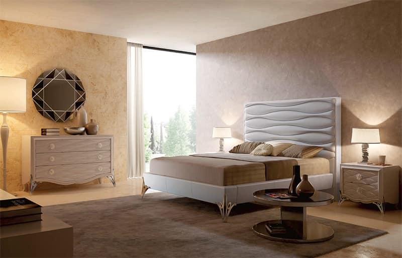 Saint Tropez - pelle onda - letto cod. 4030, Letti imbottiti in pelle, Letto di lusso, Lettio contemporaneo Albergo, Camera, Suite d'Hotel