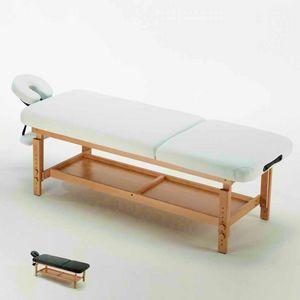 Lettino Da Massaggio In Legno Fisso Professionale Estetista COMFORT, Lettino per massaggi con poggiatesta e poggiabraccia