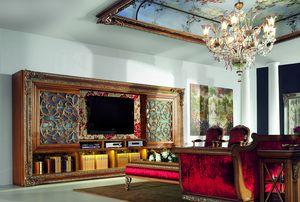 4093AB, Ampia libreria in legno con porta TV