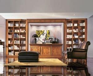 911, Preziosa libreria con credenza e faretti, per soggiorno