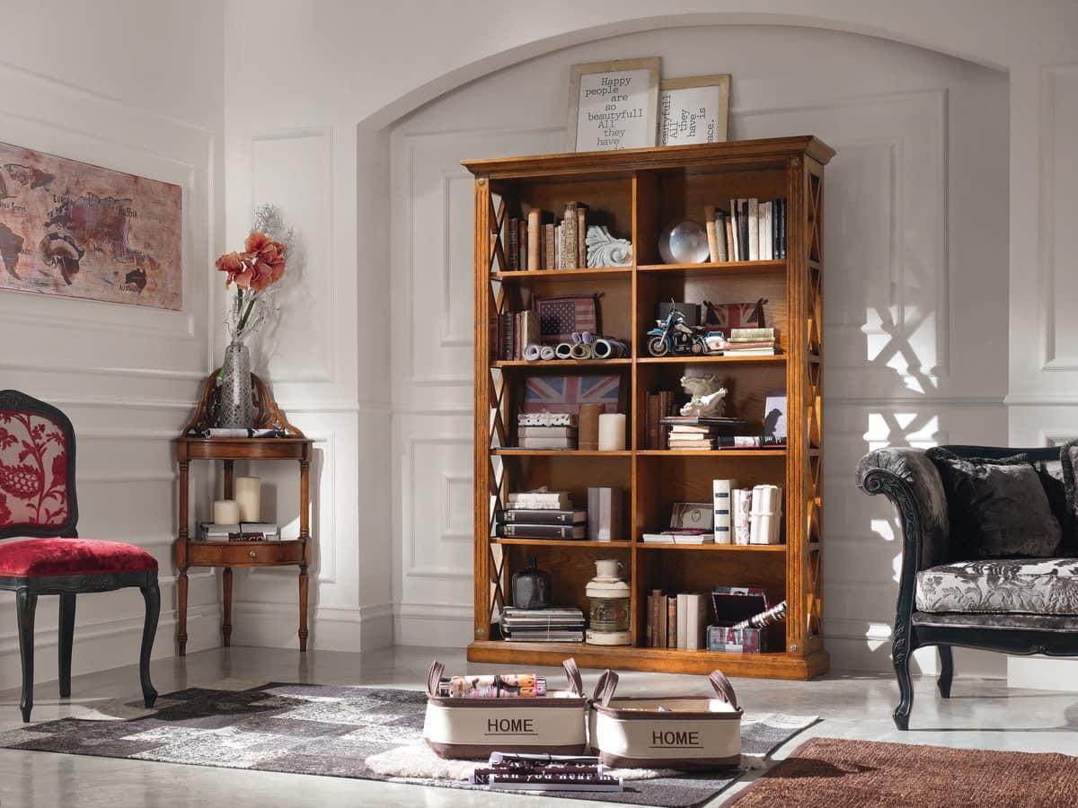 Salotti Classici In Legno.Libreria Simmetrica In Legno Per Salotti Classici Idfdesign