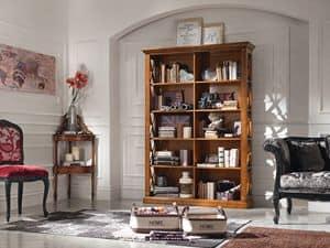 Art. 071 LIBRERIA, Libreria simmetrica in legno, per salotti classici