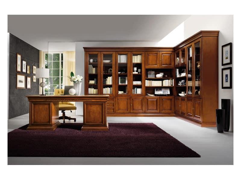 Art.0742/L, Libreria angolare in legno, stile classico