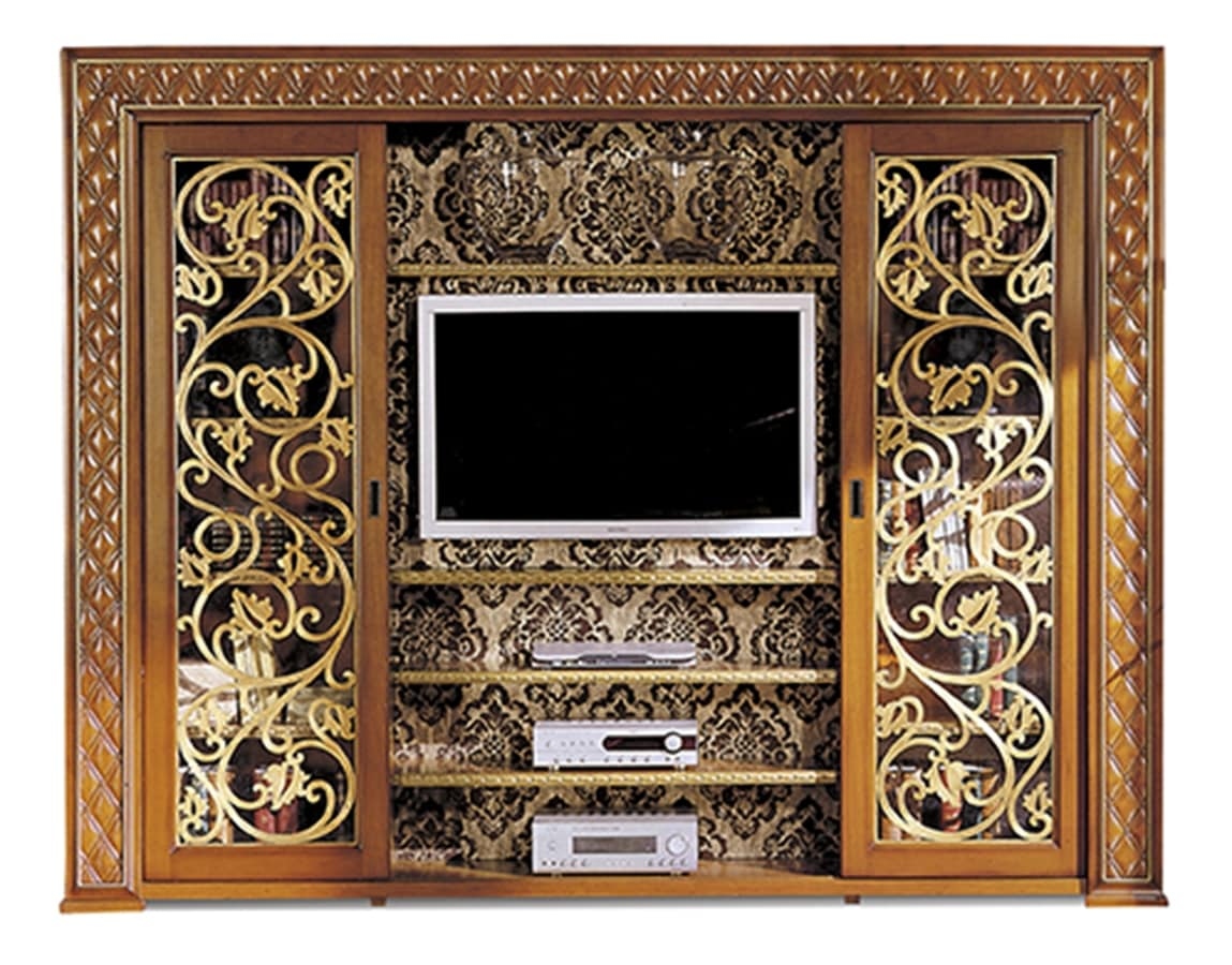 Libreria con porta TV, con ante scorrevoli | IDFdesign