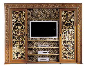 1095V2, Libreria con porta TV, con ante scorrevoli
