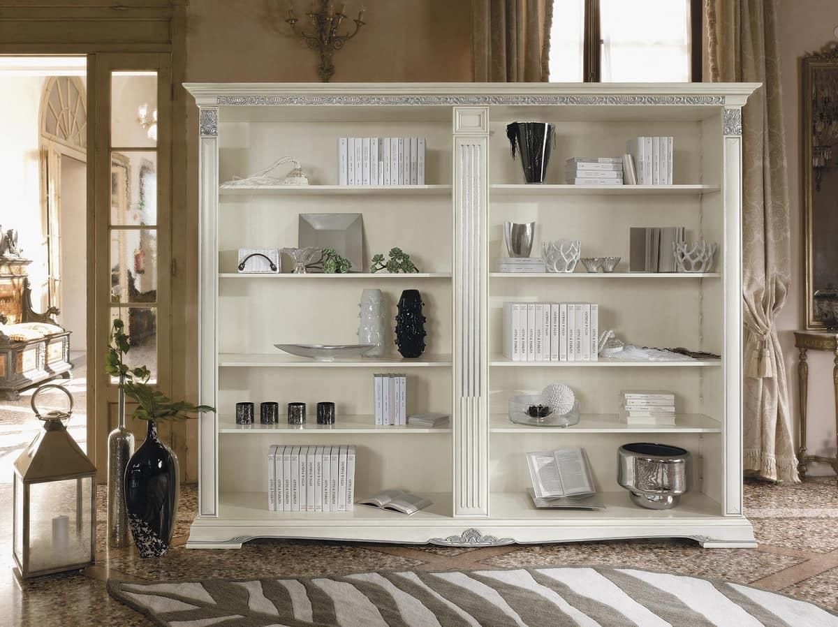 Libreria a giorno in legno intagliato e decorato idfdesign for Immagini librerie d arredamento