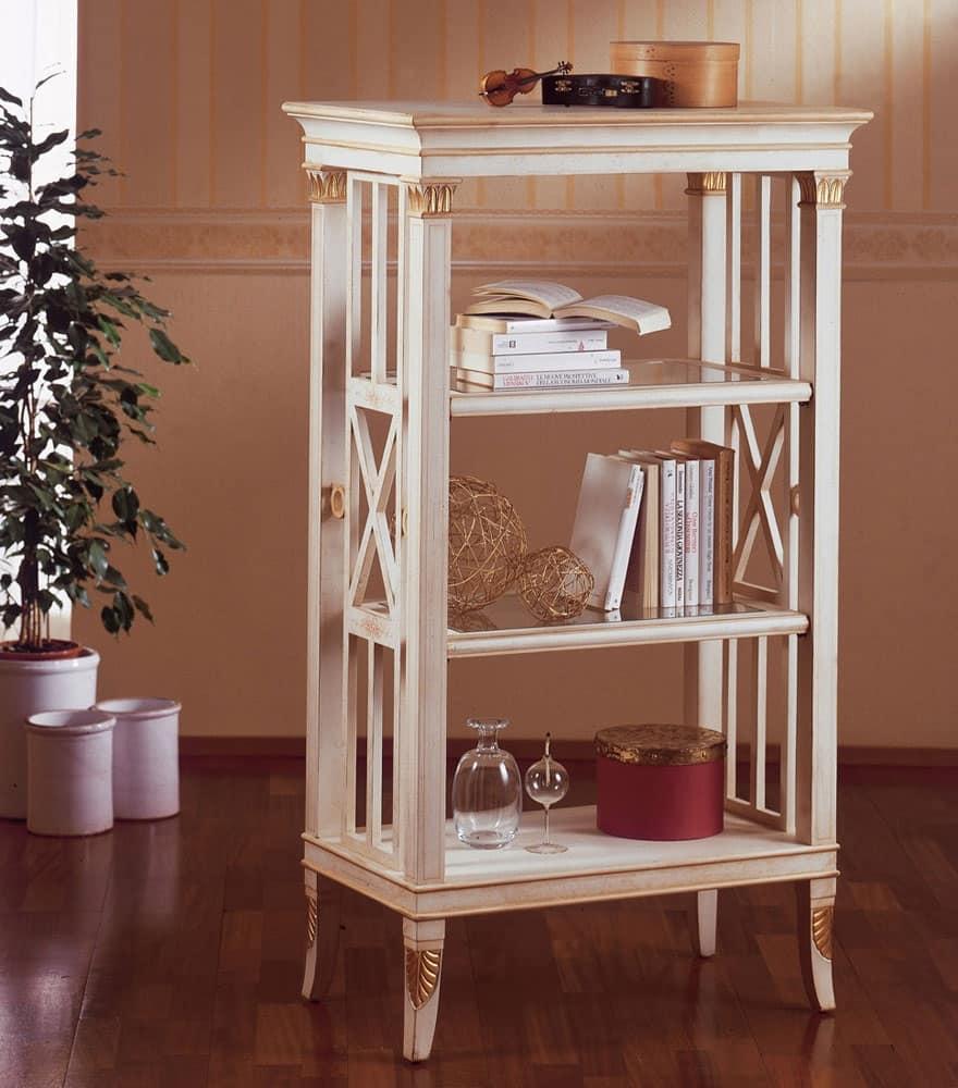 Art. 202, Piccola libreria in legno, decorazioni in foglia oro, per salotti in stile