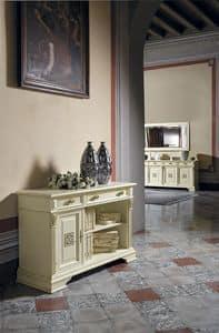 Art. 42360 Puccini, Libreria bassa con 1 porta e 2 cassetti, per ville classiche
