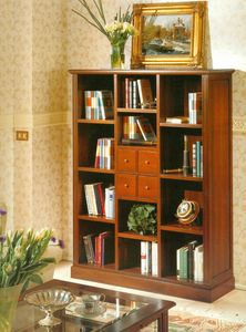 Art. 860, Libreria stile classico con cassetti e ripiani
