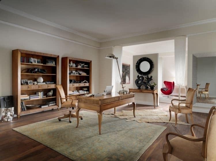 Art. CA413, Libreria in stile classico, con cassetti, in legno pregiato