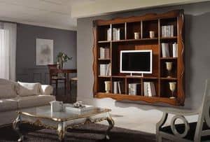 Art. H6006 LIBRERIA INTAGLIATA, Libreria classica con 14 vani e cornice intagliata