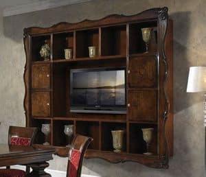 Art. H6007 COMPONIBILE, Libreria con spazio TV, in stile classico di lusso