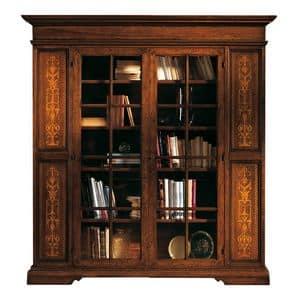 Capoliveri ME.0117, Libreria in noce con 2 ante in vetro, stile classico