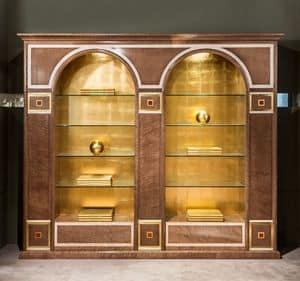 LB34, Libreria classica con 2 archi, con ripiani in vetro