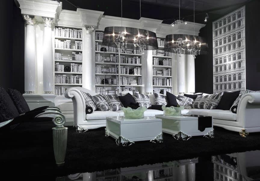 Imponente libreria, realizzata su misura, finitura bianco neve  IDFdesign