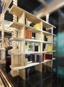 Libreria, Libreria in pino sabbiato, con decori in oro polvere