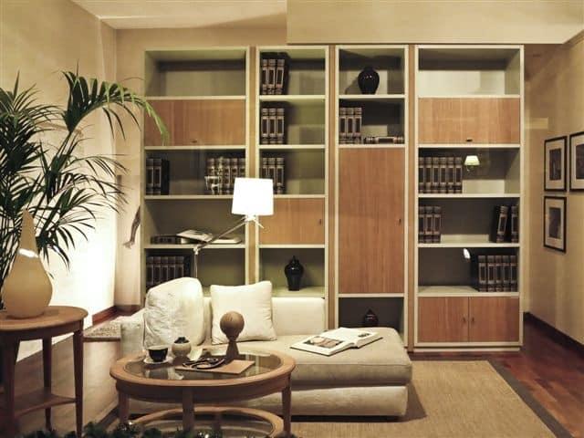 Libreria componibile in legno per salotto idfdesign for Libreria salotto