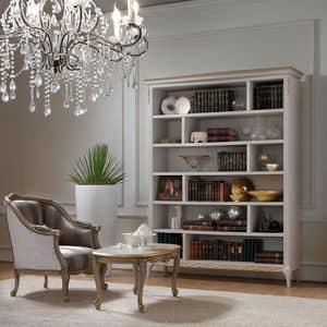 Live 5311 libreria, Libreria in legno, con decorazioni finitura oro artigianali, ideale per salotti classici