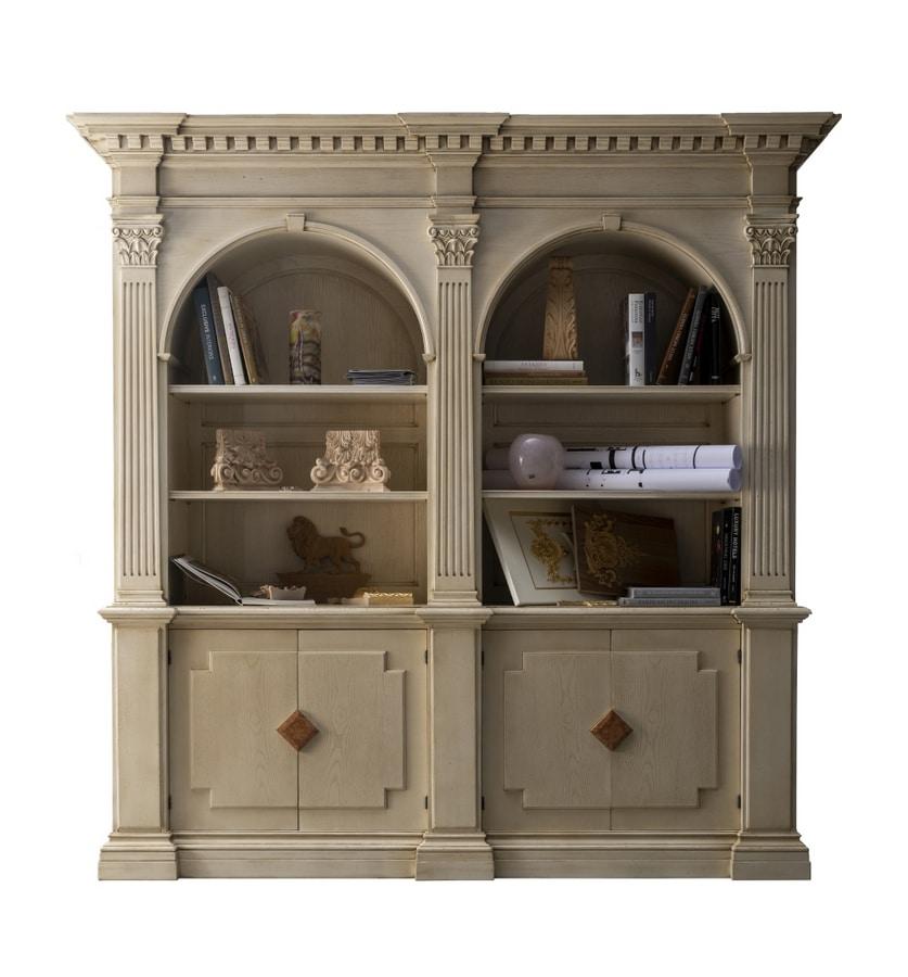 Montignoso ME.0129, Libreria medicea con 2 porte con inserti in marmo, capitelli corinzi, piccoli vani a scomparsa, in stile classico
