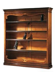 Perugino RA.0637, Libreria in noce intarsiata con 4 ripiani regolabili, per ambienti classici