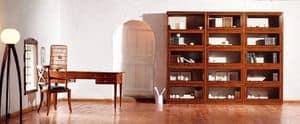 Scanzia SC 110, Libreria componibile in legno lavorato a mano, finitura a cera