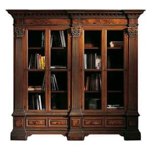 Sillano ME.0124, Libreria in noce con 4 porte, specchiature in radica e capitelli corinzi, base con due cassetti, per ambienti in stile classico