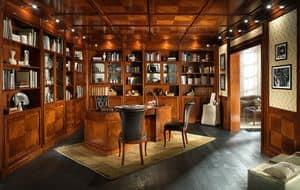 STUDIO, Libreria con boiserie e controsoffitto, in stile classico