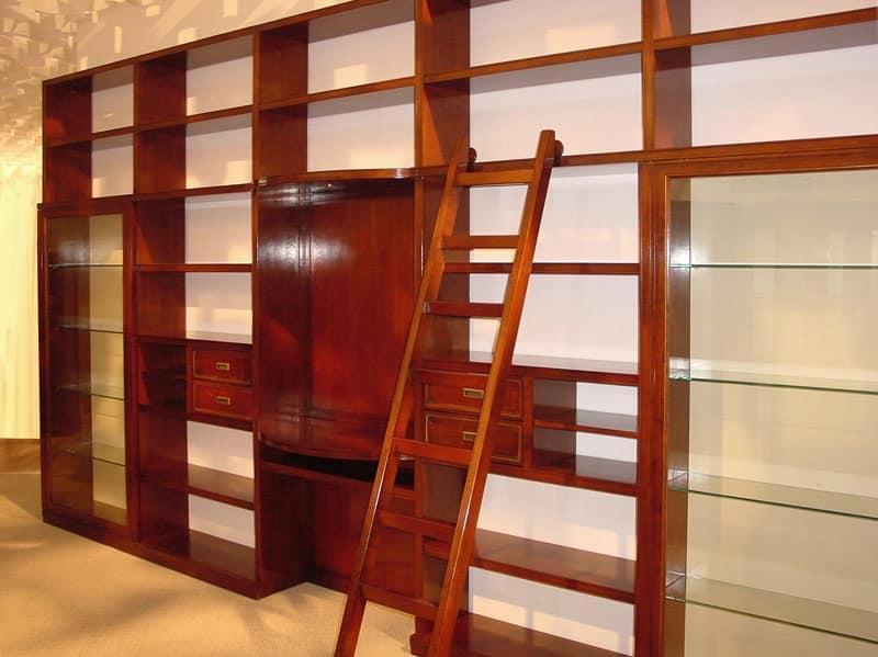 Libreria elegante modulare, con scala movibile | IDFdesign