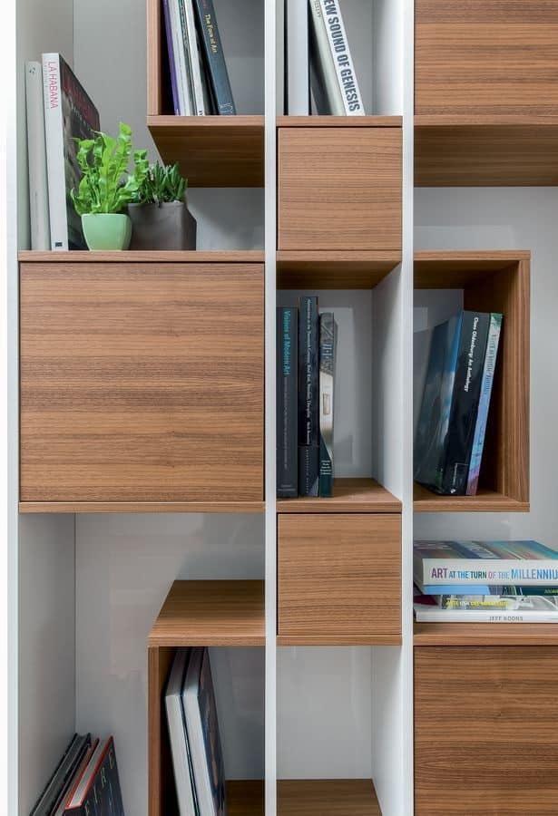 ABACO, Libreria modulare, in legno per soggiorno