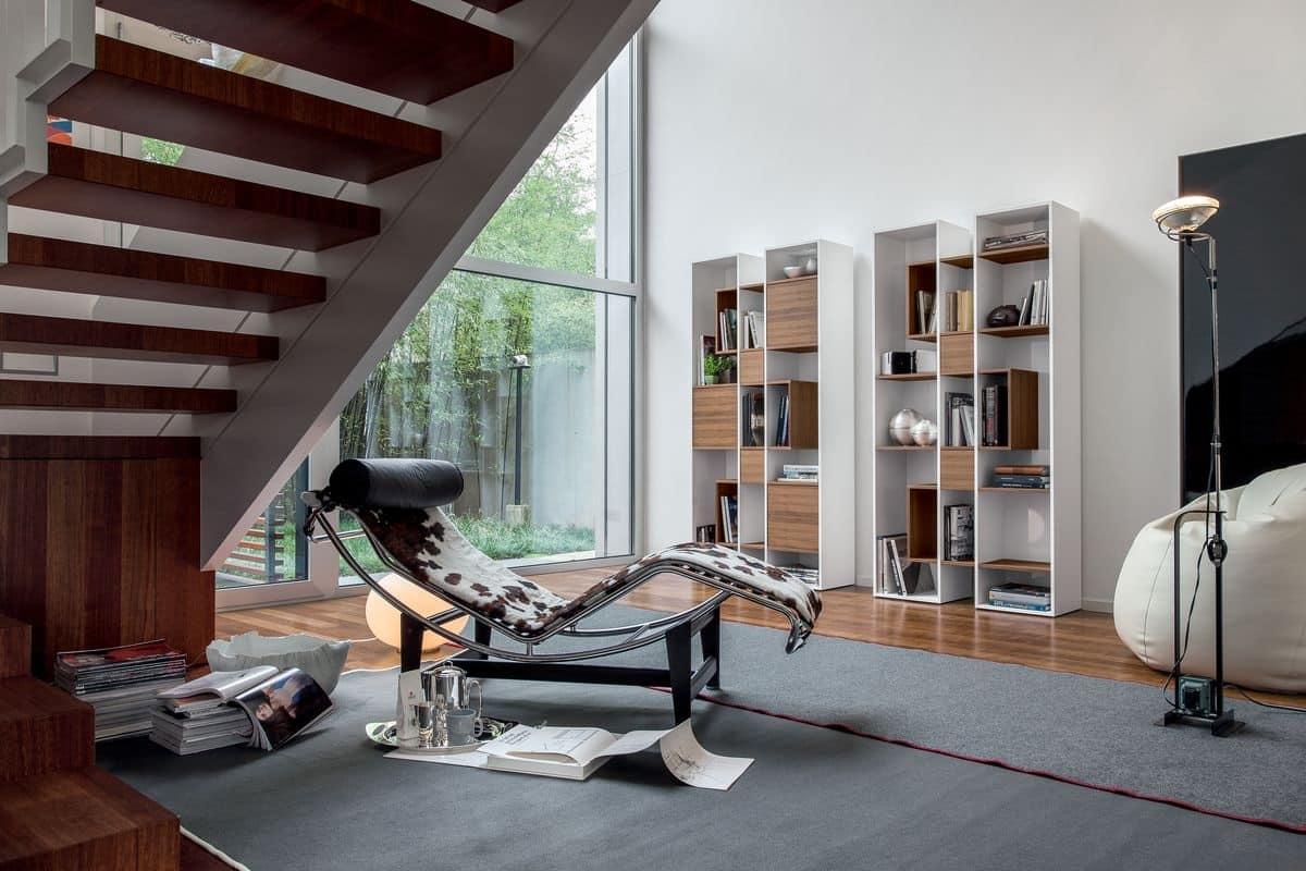 Libreria modulare in legno per soggiorno idfdesign for Libreria soggiorno moderno