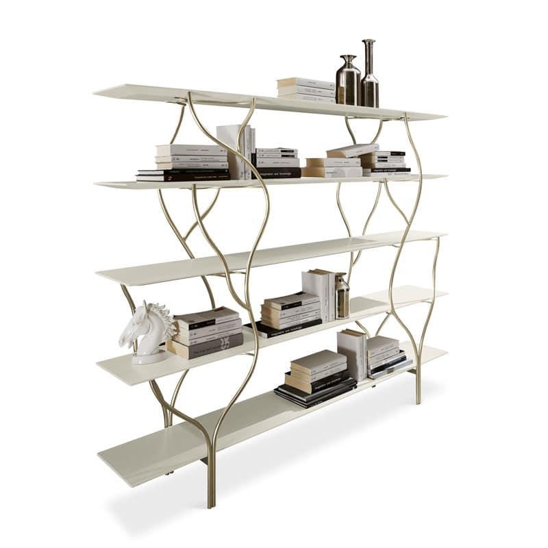 Albero libreria, Libreria con struttura curvata in metallo levigato a mano