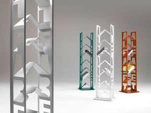 Alfabet, Libreria in acciaio laccato, piedini regolabili, per case moderne