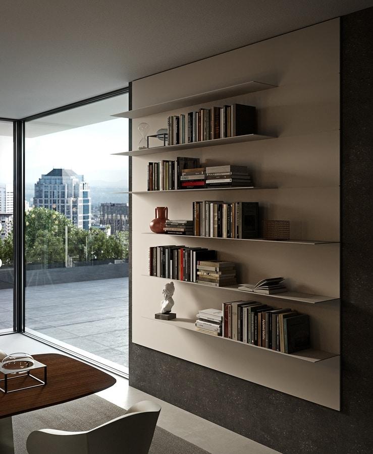 ALL comp.12, Libreria pensile con piani in alluminio