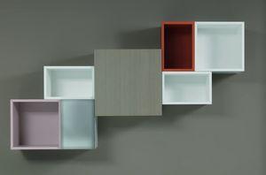 AREA composizione living, Libreria design in legno, con vani aperti e chiudibili