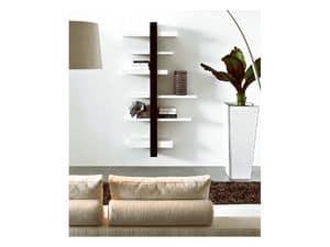 ART. 750 EMOTION, Libreria da parete in legno, con mensole e specchio
