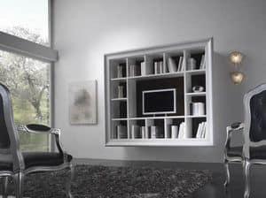 Art. H6005 LIBRERIA MODERNA, Libreria moderna, dotata di 14 vani, per salotto