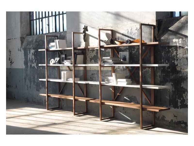 Libreria in legno massello, per salotti in stile moderno | IDFdesign