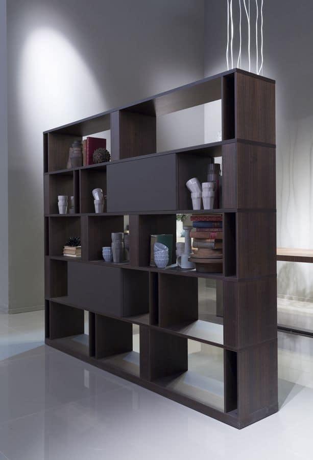BRERA comp.01, Libreria bifacciale di alto design, personalizzabile