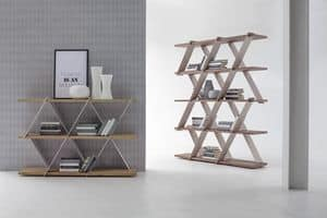 CASTLE, Libreria con struttura in metallo e ripiani in legno