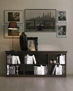 Celine, Libreria intarsiata, in ciliegio, per salotto classico