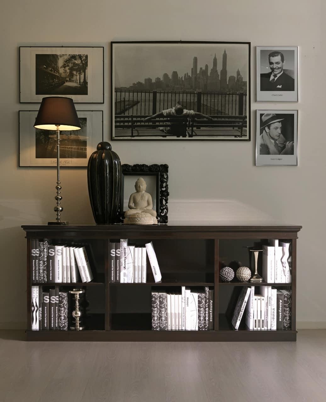 Libreria intarsiata, in ciliegio, per salotto classico ...