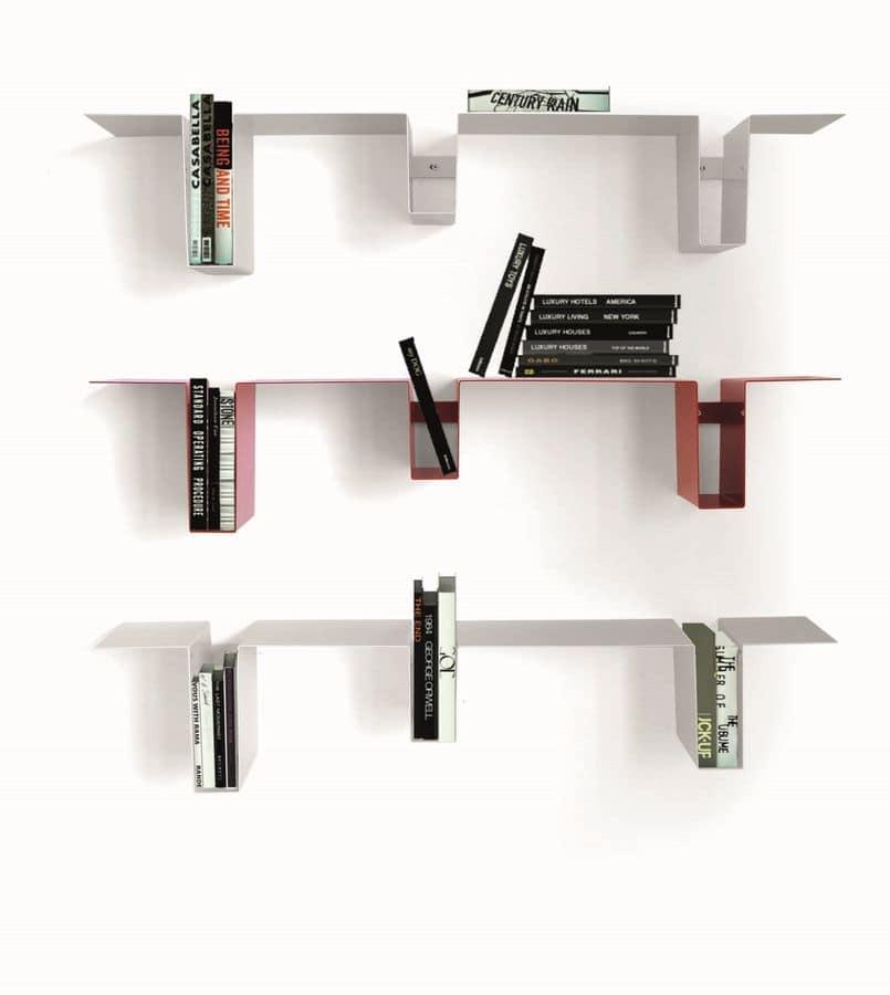 Mensole a muro, in acciaio verniciato, per salotto  IDFdesign